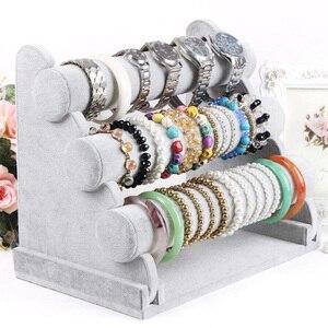 Image 3 - Triple Bracelet Holder Jewelry Display Stand Watch Bangle Bar Necklace Storage Organizer Gray