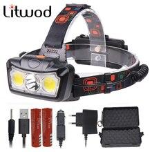 Litwod Z30 светодиодный фар задний фонарь XM-L T6 COB супер яркий светодиодный фонарик лампы 18650 фонарь с перезаряжаемым аккумулятором свет