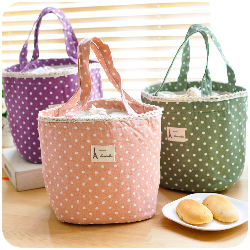 Lovely Polka Dot Cotton Canvas Lunch Bags Korean Cute Ice Pack Cooler Bag ...