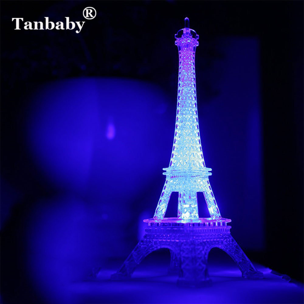 Tanbaby Colorful Romantic Eiffel Tower LED Night Light Wedding Bedroom Decorate Night Light For Kids Children Touch Sensor Lamp