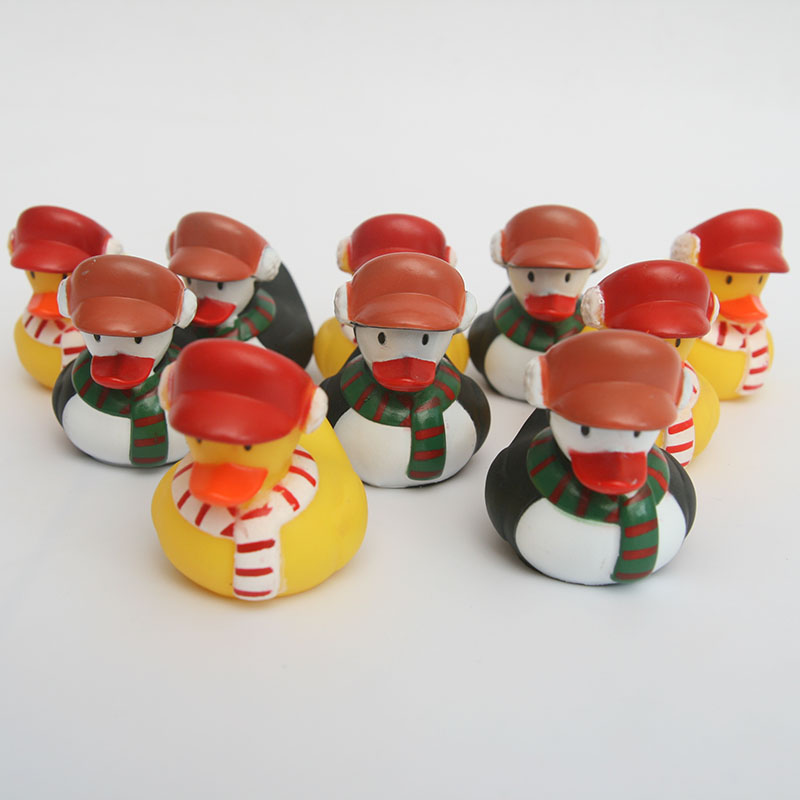 Christmas Ducks Baby Toys For Bath Room Safe And Non-toxic Materials  Squeeze Sound Squeaky