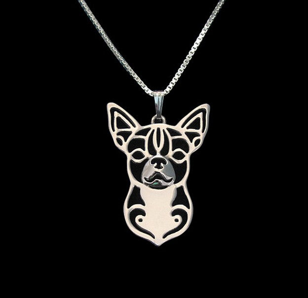 Hot Sale 10PCS wholesale cartoon Boho Chic Alloy Chihuahua necklace Chihuahua dog pendant jewelry Silver gold colors plated