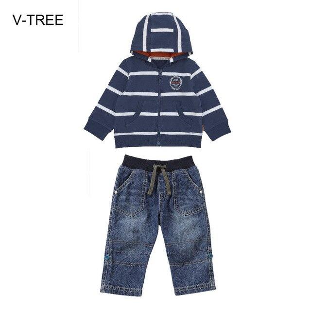 Весна и осень мальчик ткань костюм Младенца пальто Мальчик полосатый молнии с капюшоном куртка + брюки джинсовые костюм