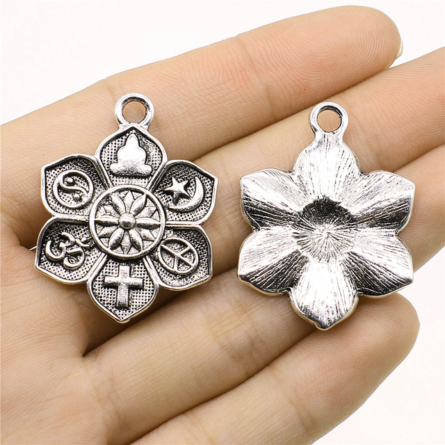 WYSIWYG 2pcs Charms Religion Buddha Cross Om Taoist Peace Islam Antique Silver Color 28x36mm Religion Charms