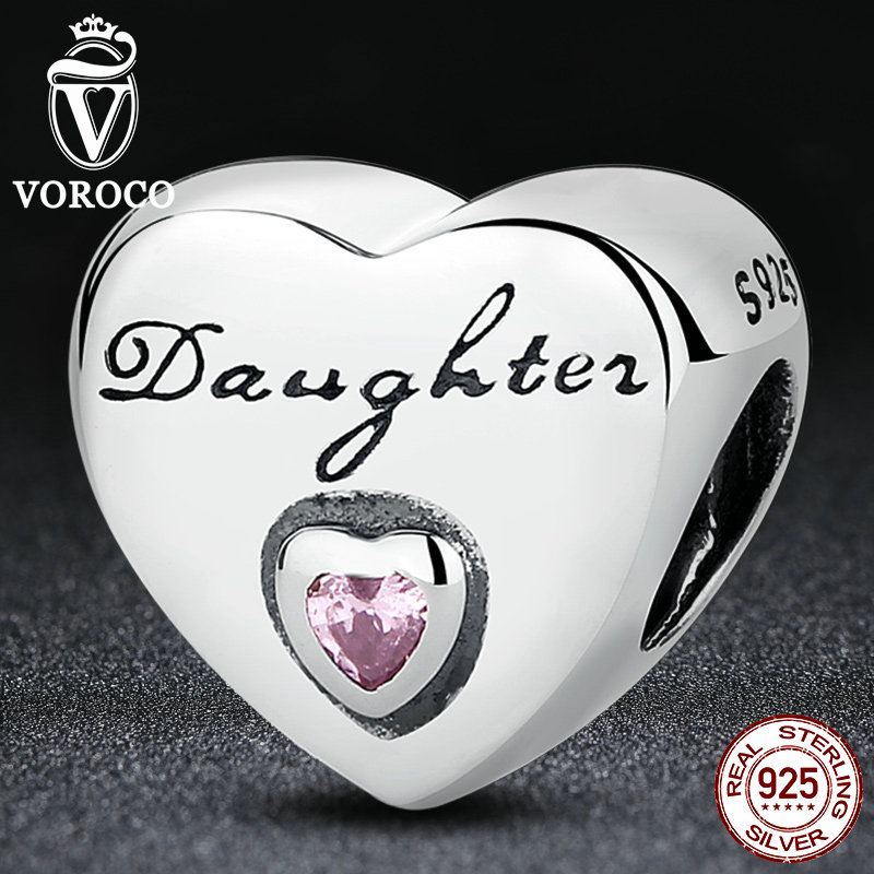 VOROCO Gift 925 Sterling Silver Daughter s Love Pink CZ Bead Charms fit Pandora Bracelets Women