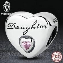 VOROCO Regalo 925 de Plata Amor de la Hija, rosa CZ Encantos Del Grano cupieron Las Pulseras Pandora Joyería Moda Mujer S323