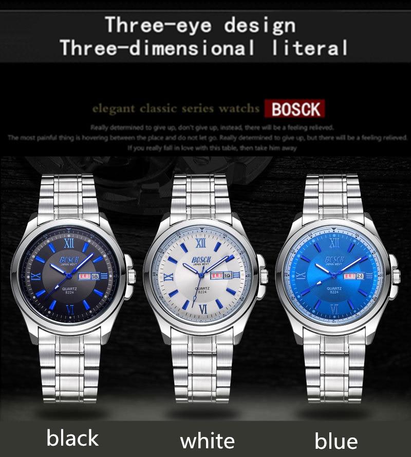 BOSCK 1131 Saat reloj relojes mujeres marca de moda vestido relojes mujeres de acero inoxidable de cuero analógico reloj de pulsera de lujo