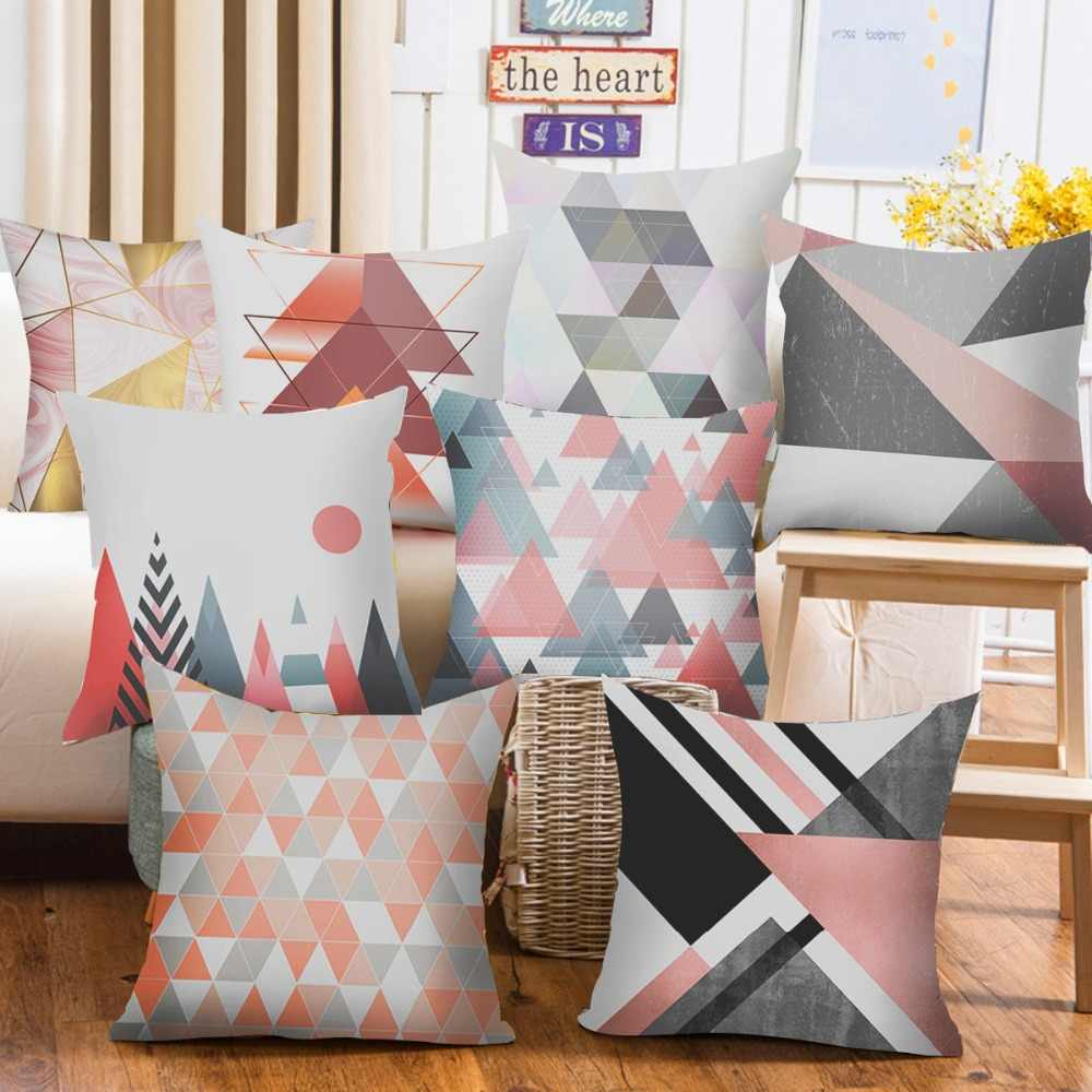 Frigg 45*45 Geometric Cushion Cover Living Room Home Decor Throw Pillow Case Peach Skin Sofa Decor Pillowcase Seat Back Cushion