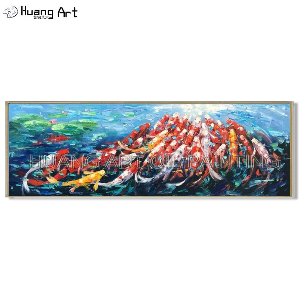 Couteau de haute qualité animaux poissons dans l'étang de Lotus peinture peint à la main moderne peinture à l'huile de cent poissons pour Art de décoration de salon