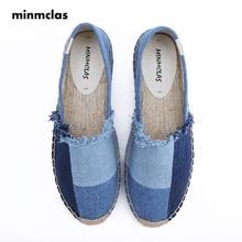 Minmclas New Fashion Denim Patchwork Comfortable Blue Stripe Womens Casual Espadrilles Shoes Breathable Flax Hemp Canvas Cowboy