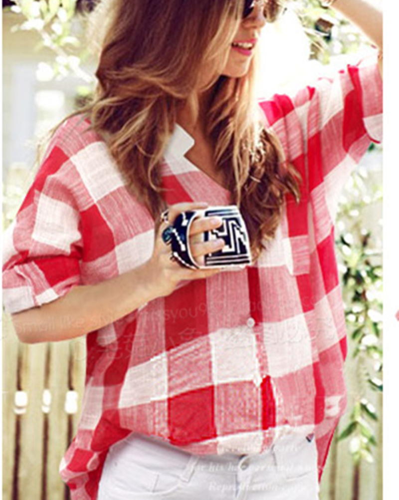 Summer Style 2015 Women Red Plaid Shirts Tops Loose Casual Blouse Ladies XL 5XL Blusas Femininas
