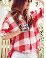Summer Style 2015 Women Red Plaid Shirts Tops Loose Casual Blouse Ladies XL~5XL Blusas Femininas Female Plus Size Women Clothes