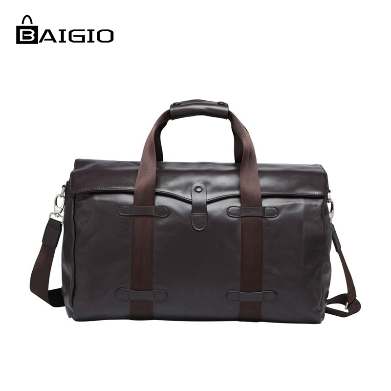 Baigio Men's Travel Bag Genuine Leather Overnight Tote Duffle Handbag Large Capacity Designer Carry Hand Luggage Shoulder Bag free shipping vintage style mens genuine leather large luggage duffle gym bag shoulder tote handbag travel bag 3061 black