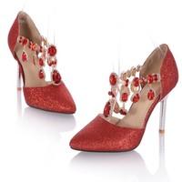 Plus Size 34 43 Fashion Womens Wedding Luxury Rhinestone Glitter Sequins Pointed Toe Pumps Dress Shoes
