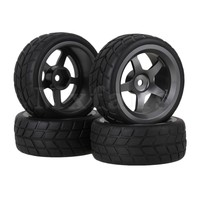 4xBlack Square Rubber Tyres 5 Spoke Alloy Wheel Rims RC1 10 On Road Car Parts