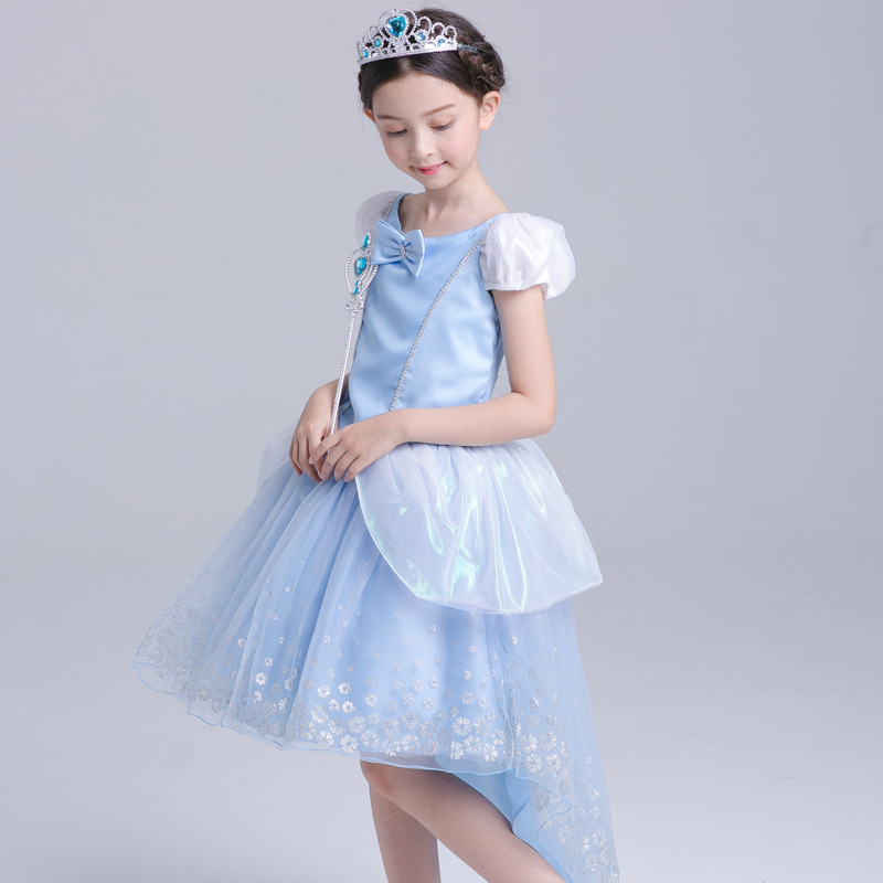 ABGMEDR Brand Cinderella Dress Girl Children Christmas Chothing Girls Party and Wedding Dresses Kids High Low Dress with Tails
