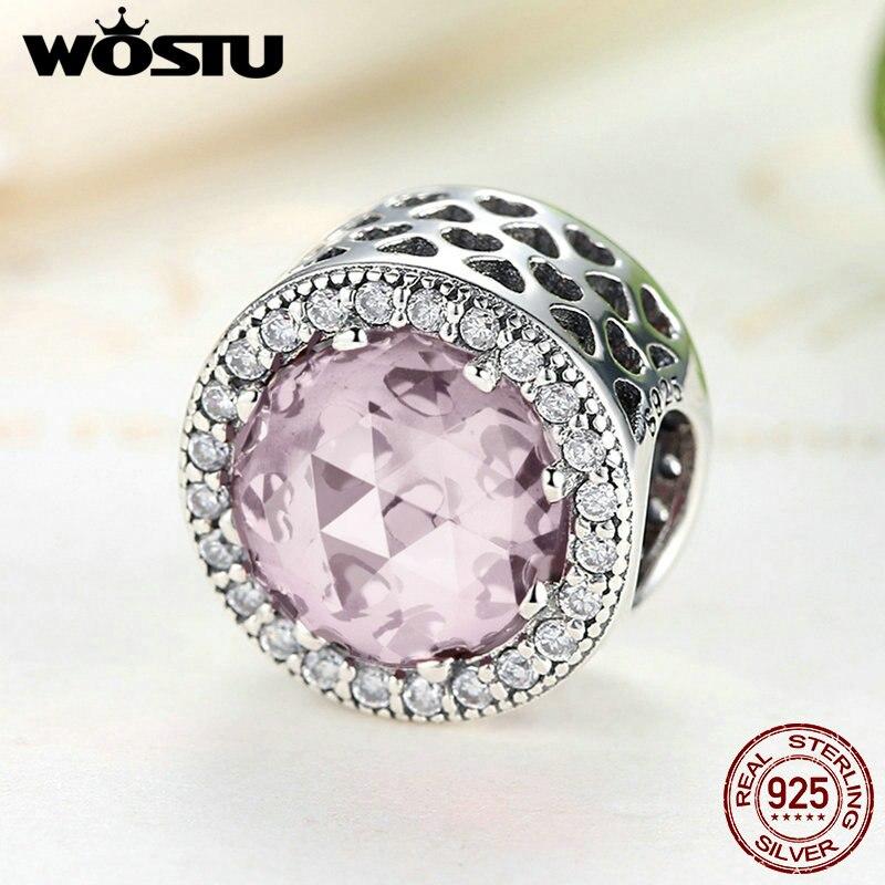 2017 Hot Sale 925 Sterling Silver Radiant Hearts Pink Beads Fit Original Pandora Charm Bracelet Authentic