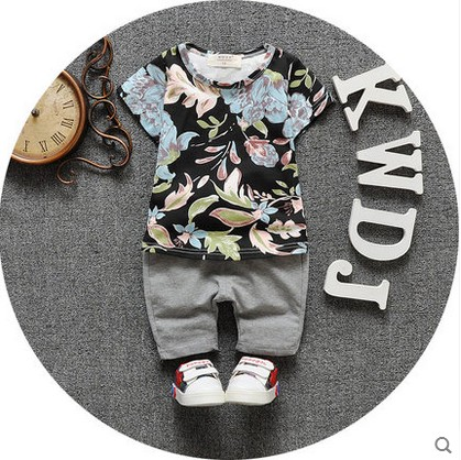 baby cotton short sleeve summer wear clothes suit Boys and girls T-shirt summer children's clothing 0-1-2-3 years old