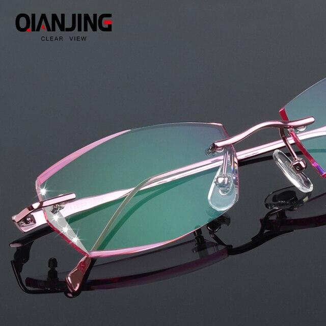 b5b0b4d9c35d Luxury Eyeglasses Rimless Women Myopia Prescription Eye Glasses Diopter  Rhinestone High Clear Lenses Gold Ladies Reading Eyewear