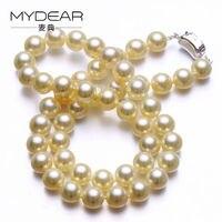 Mydear жемчуг Ожерелья для мужчин Винтаж Стиль S925 серебро Для женщин 6.5 7 мм натуральный Akoya Цепочки и ожерелья, Круглые, яркий свет морской жемч