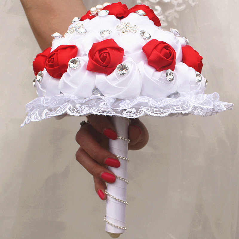 Image 2 - WifeLai A 1Piece Luxury White Red Rose Flowers Lace Brooch Bridal Bouquets Diamonds Stitch Wedding Decoration Bouquets W2281-in Wedding Bouquets from Weddings & Events