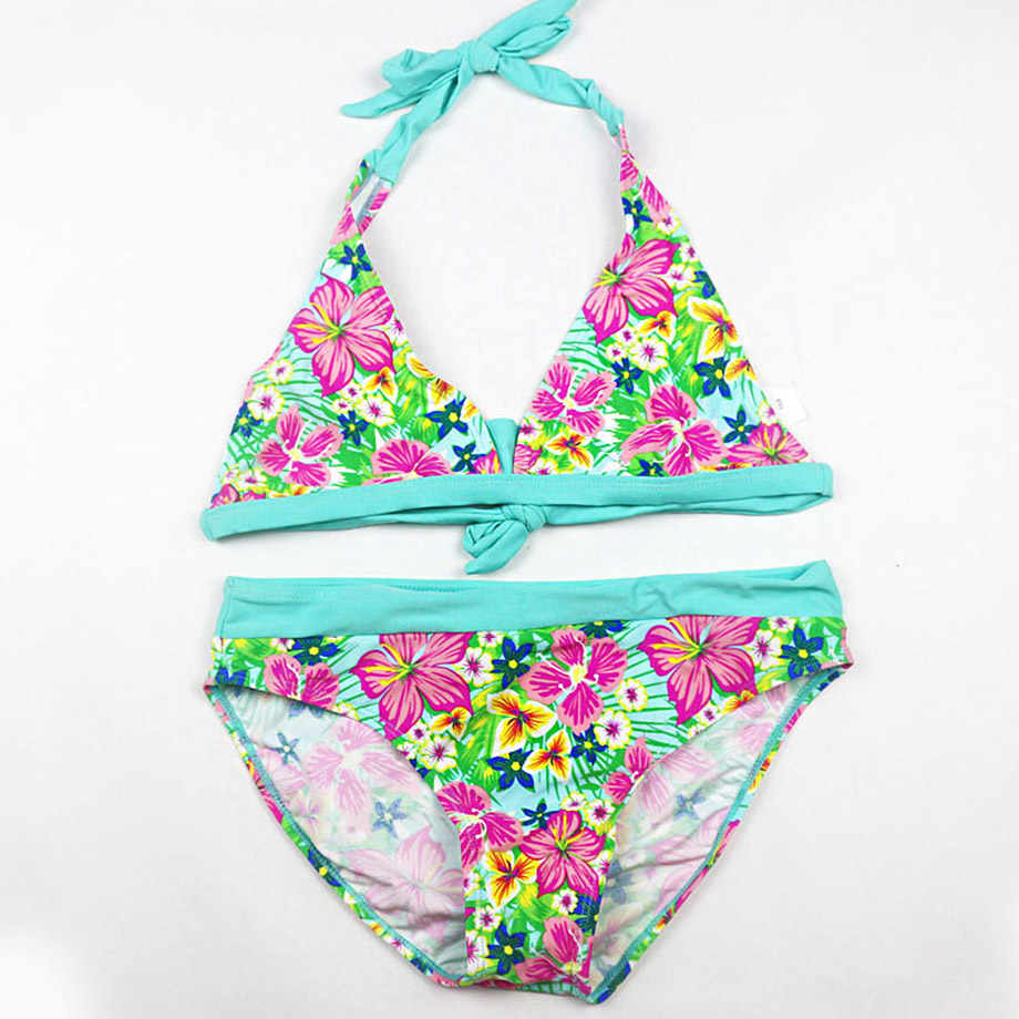2019 جديد مخطط ملابس السباحة الفتيات بيكيني الاطفال ملابس السباحة الأطفال الأزهار الاستحمام بدلة طفل الفتيات طفل بدلة السباحة 8-16 سنوات