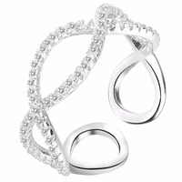 BELLA Fashion Simple Style 925 Sterling Silver Bridal Ring Infinity Open Ring For Women Wedding Accessories