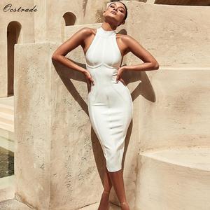c239bc57bfb70 Ocstrade Sexy Women White Bandage Dress Midi Bodycon Dress