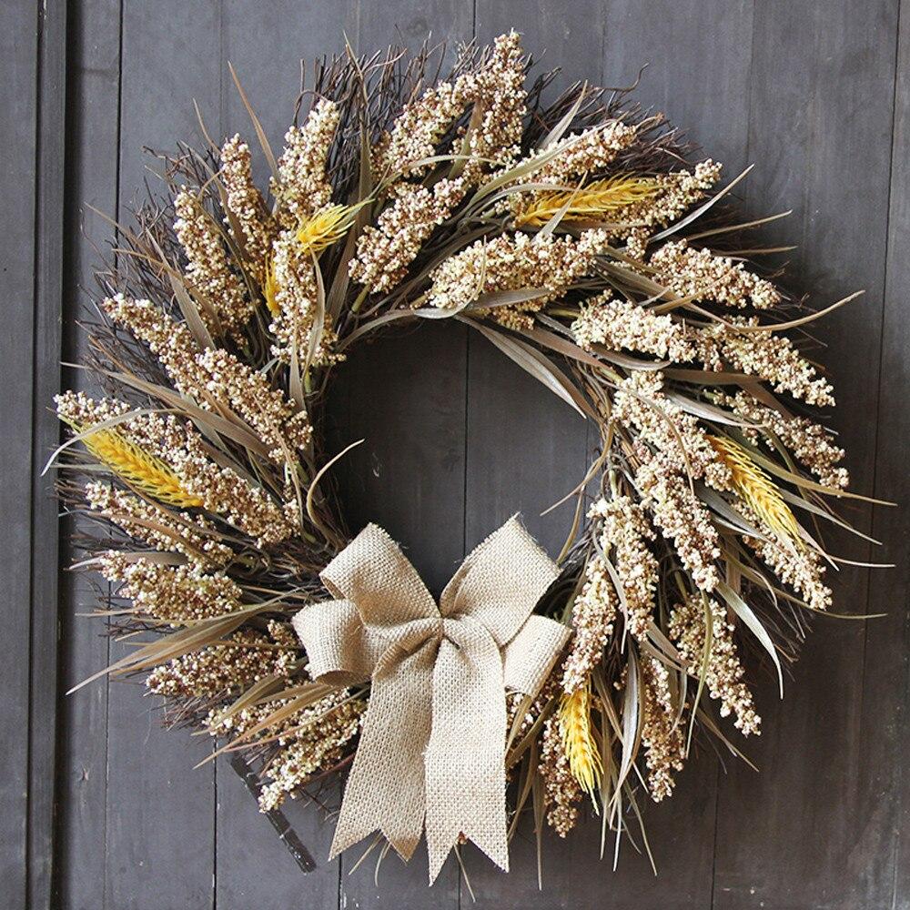 50cm Halloween Wheat Fall Door Wreath Door Wall Ornament With Bow