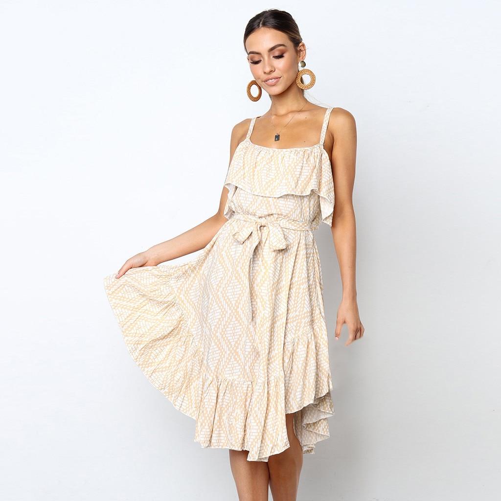 Women Beige Sexy Off Shoulder Dress Printing Ruffles Sleeveless Summer Dresses Elegant Princess Dress With Belt Beach Dresses