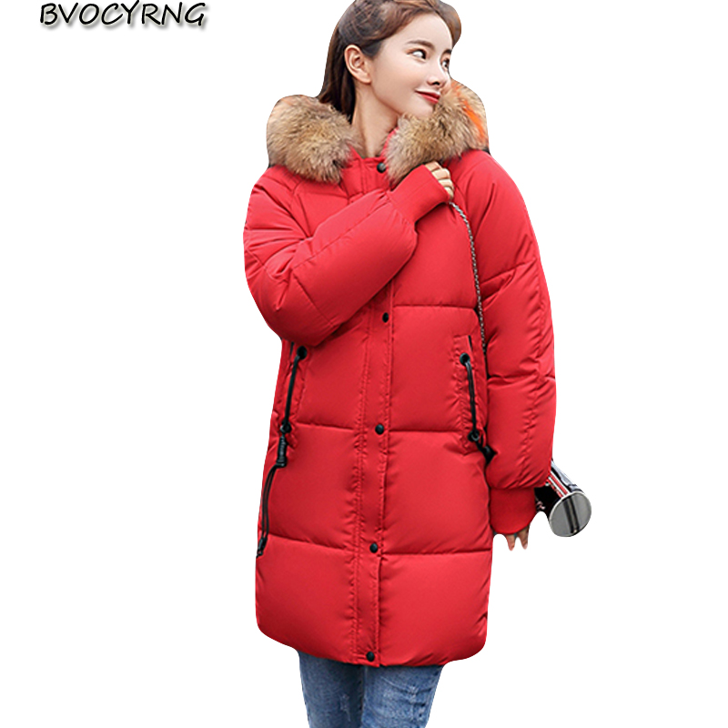2018 Fashion big fur collar Women Winter Coat Female Plus Size Warm Thicken Down cotton   Parka   Student Loose Jacket Outerwear