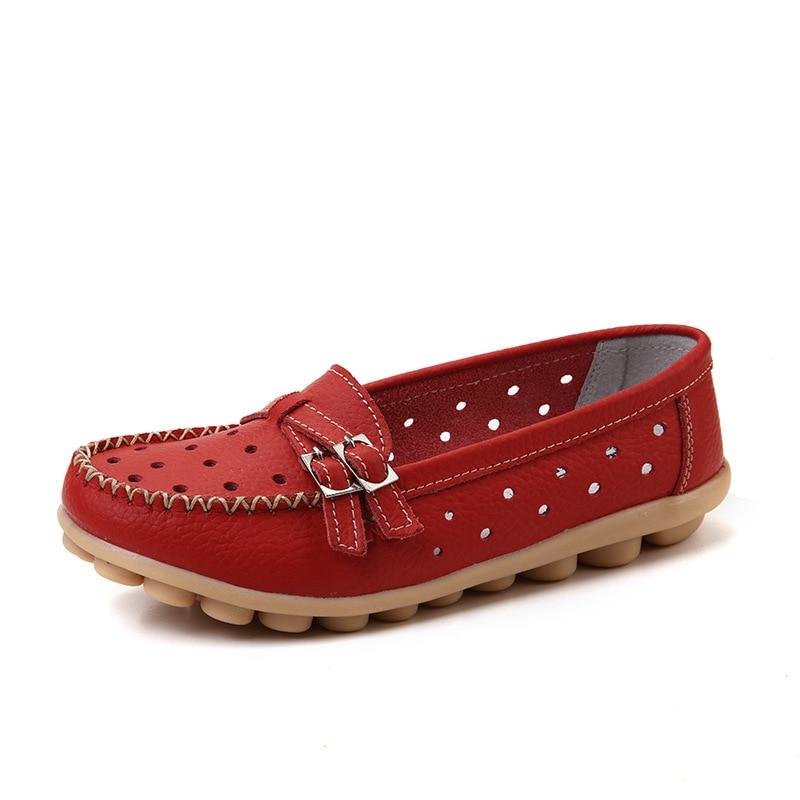 Women Flats Genuine   Leather   2018 New Woman Casual Flats Buckle Loafers footwear Slip On Women's Flat Heel Shoes Moccasins