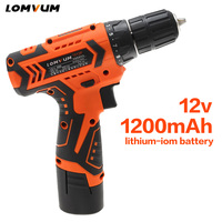 LOMVUM 12V Power Drill Tool Electric Drill Screwdriver Rechargeable Cordless Drills Lithium Ion Battery Screw Rotary