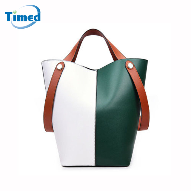 Europe Style Women Color Block Bucket Bags Simple Fashion Handbags High Quality Pu Leather Composite Bag