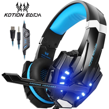 KOTION EACH Gaming Headset Casque Deep Bass Stereo Game Headphone with Microphone LED Light for PS4 Phone Laptop PC Gamer cheap Hybrid technology Wired 114±3dBdB None 2 2mm For Mobile Phone For Internet Bar for Video Game HiFi Headphone Common Headphone