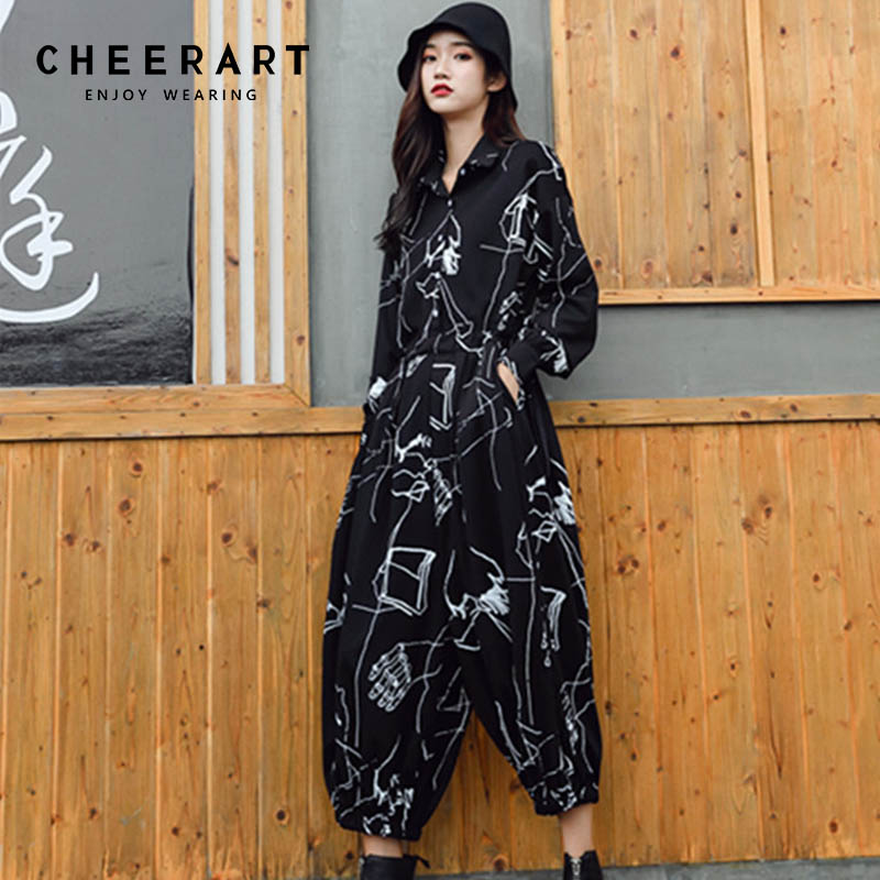 Cheerart Streetwear Hip Hop Jumpsuit Women Black Plus Size Loose Graffiti Print Long Sleeve Romper Combinaison Femme Salopette