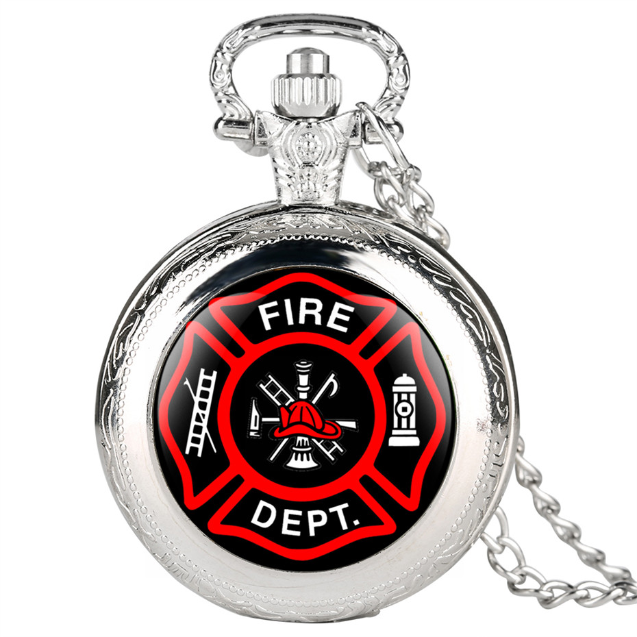 Fashion Fire Fighter DEPT. Mark Quartz Pocket Watches Necklace Pendant Casual Men's Watches Clock Gifts 2019 New Arrival