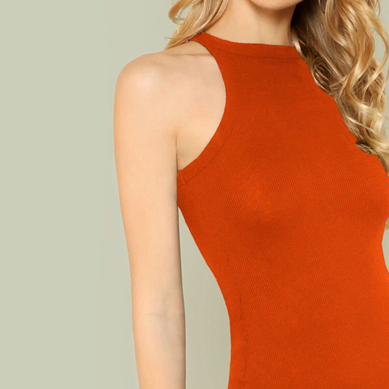Black Orange Halter Bodycon Mini Dress