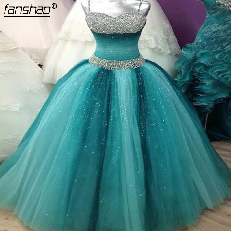 Top SaleèBall-Gown Prom-Dresses Puffy Sweet Sixteen Princess Beaded Tulle Party Spaghettis-Straps