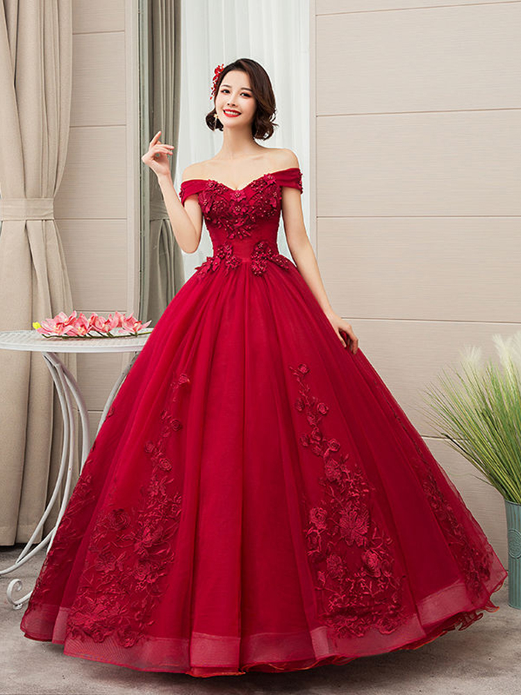 Quinceanera-Dresses Lace Party The-Shoulder 15-Anos Vintage Luxury 4-Colors Vestidos