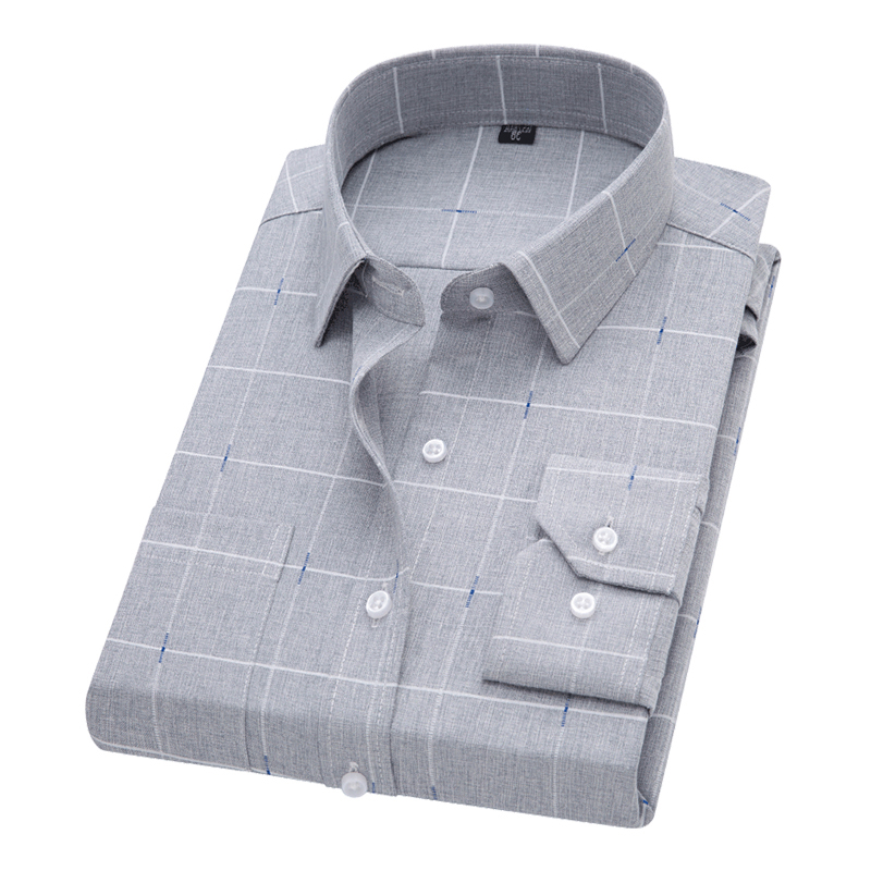 Male Plaid Printl Business Dress Shirts