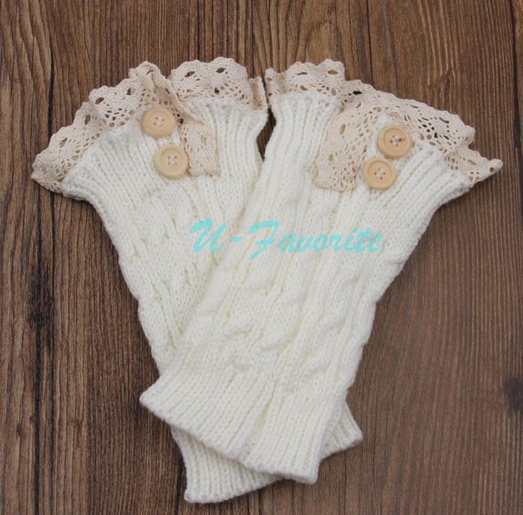 Fashion Women Knit Boot Cuffs Acrylic Lace Twist Pattern Lace Boot