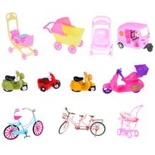 15Style Plastic Resin Car Toy Plastic Car Toy For Girl Doll Dollhouse Miniature Furniture Plastic Stroller Bike Car Motorcycle(China)