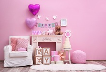Laeacco Baby Newborn Room Cake Balloons Sofa Gifts Toy Photography Background Customized Photographic Backdrop For Photo Studio