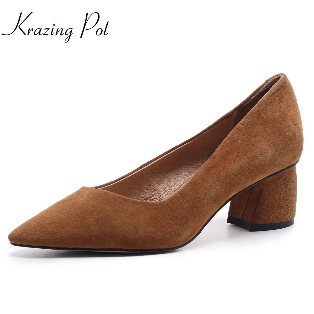 Krazing pot 2018 sheep suede pointed toe med heels slip on office lady women pumps simple solid style elegant classic shoes L8f1 krazing pot shallow sheep suede metal buckle thick high heels pointed toe pumps princess style solid office lady work shoes l05