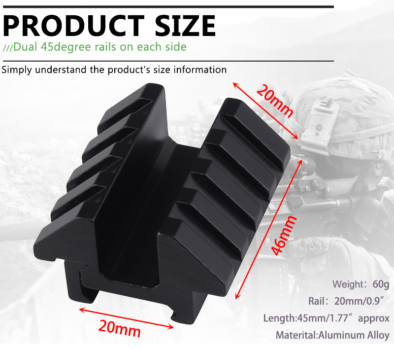 Ledarnell Dual 45 Degree Angle Offset Double Side Mount Adapter 46mm Length With 20mm Picatinny Weaver Rail Hunting|adapter mount|adapter led|picatinny led - title=