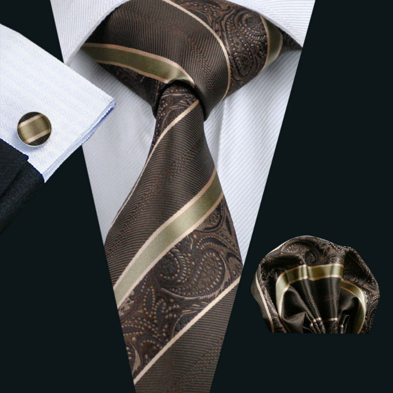 LS-506 2016 Hot Men`s Tie 100% Silk Paisley Jacquard Woven Classic Tie+Hanky+Cufflinks Set For Formal Wedding Business Party