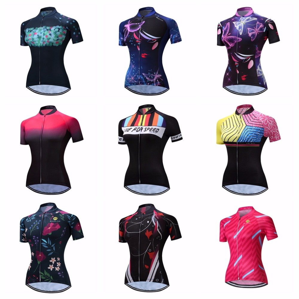 Cycling Jersey Women Bike Top Shirt  Short Sleeve MTB mountain Ropa Maillot Ciclismo road Racing Bicycle Clothes female wear red Cycling Jerseys     - title=