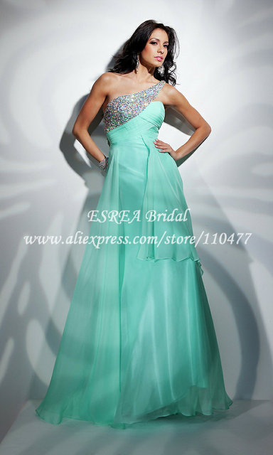 Rhinestone One Shoulder Luxury Long Dress Party Evening Elegant Mint Green Prom Dresses Chiffon HM247 Wedding Guest Dresses