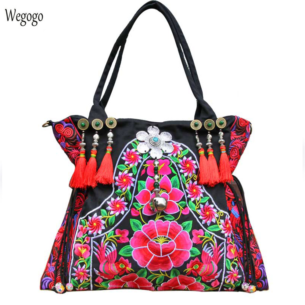 2018 New Women Handbag Floral Embroidery Shoulder Bag Boho Beach Travel Messenger Bags Personality Large Capacity Shopping Bag